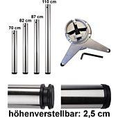 Stützfuß ø 60 mm Chrom, H 870 mm